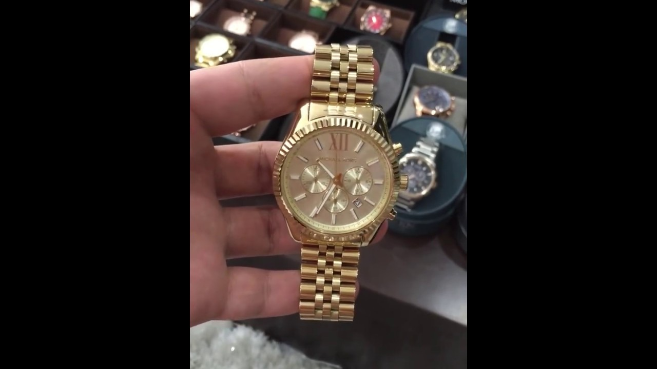 7eebd2fd209a michael kors mk8281 men s lexington chronograph shiny gold purse ...