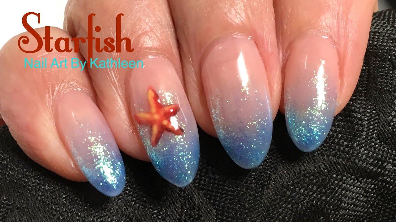 Starfish Nail Art Freehand Gel Polish Nail Design Youtube