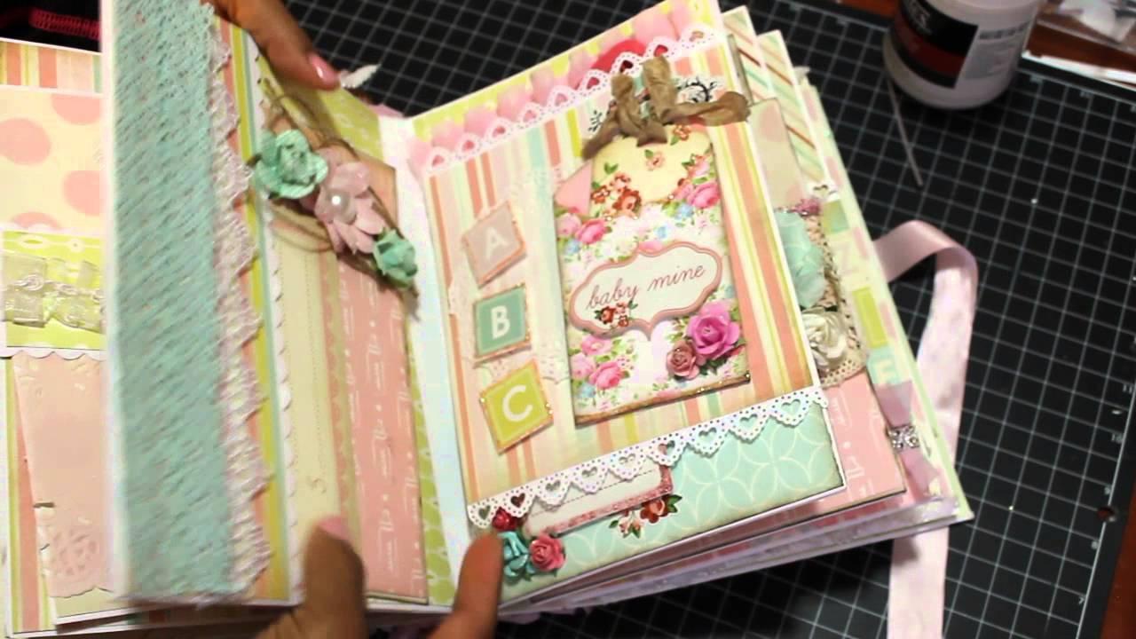 Scrapbook ideas for baby girl - 2015 Baby Girl Mini Album Scrapbook Sold