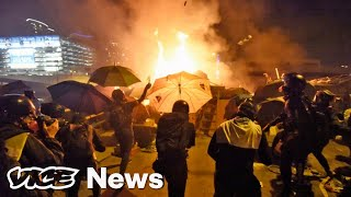 Hong Kong Police Tear Gas And Beat Protesters Trying To Escape University