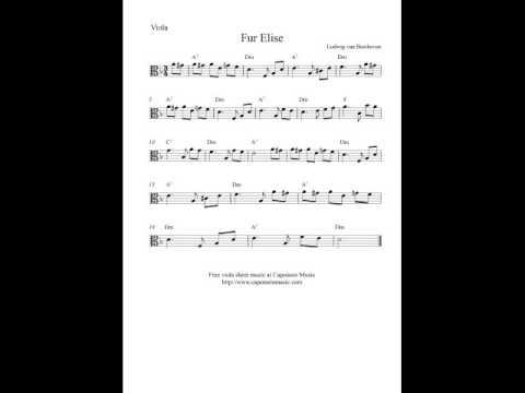 Free viola sheet music, Fur Elise - YouTube