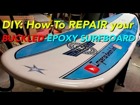 How to fix and repair a buckled Epoxy #Surfboard #DIY pt2