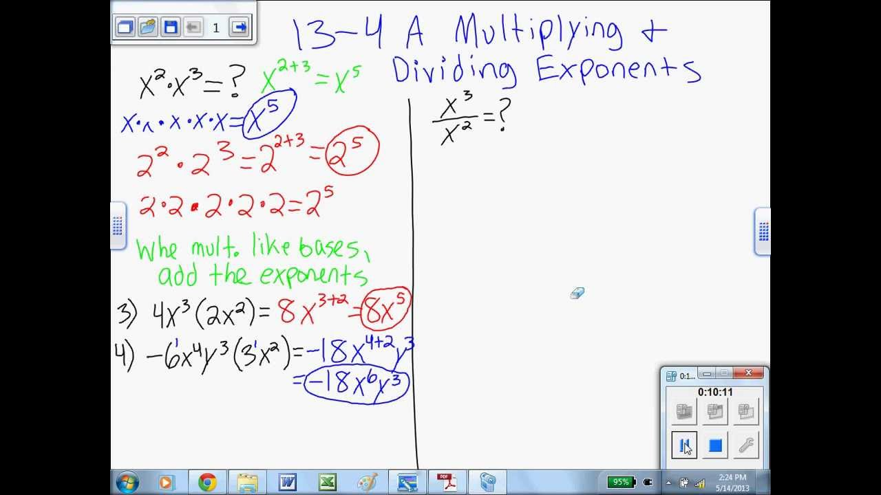 134 A Multiplying & Dividing With Exponents 7th & 8th Grade Algebra 1