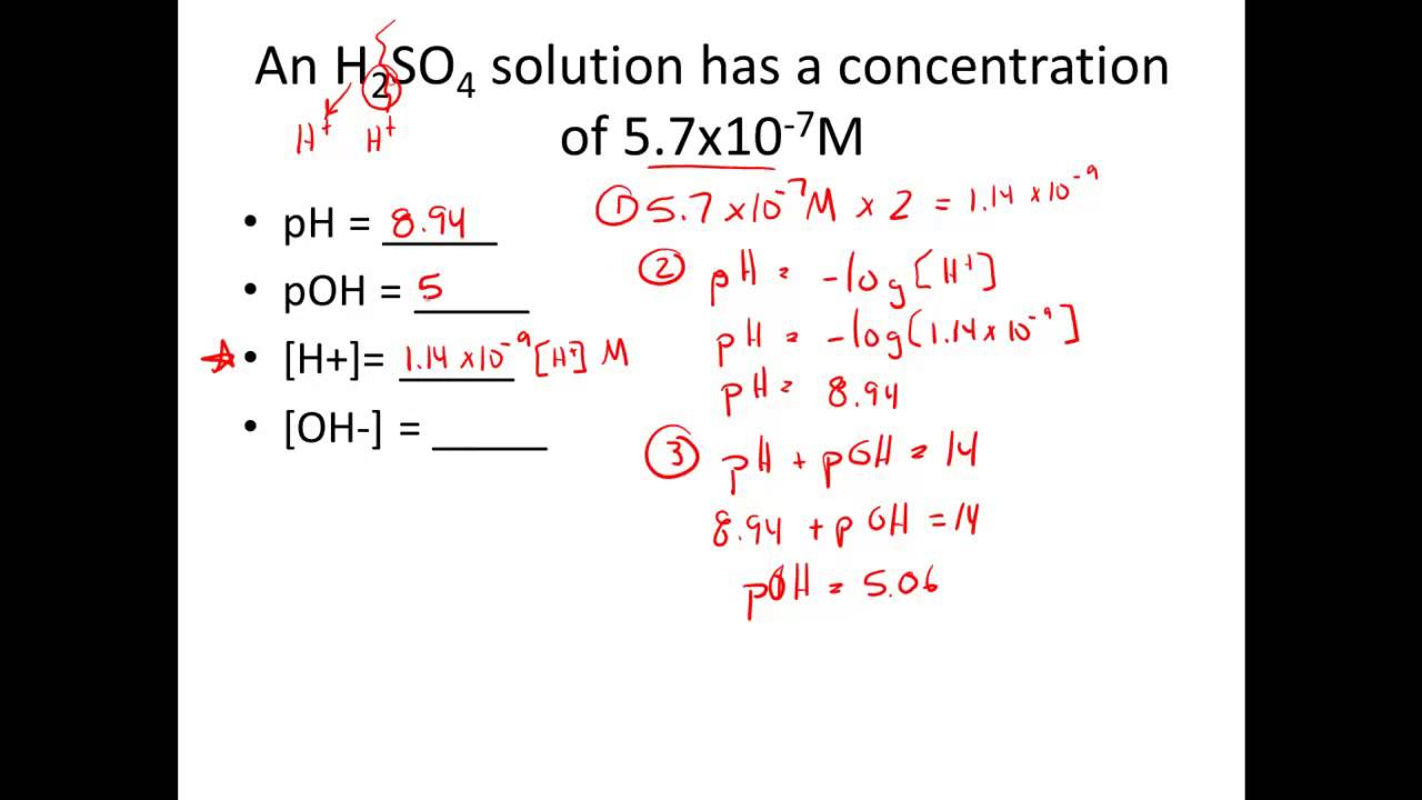 Given H or OH Calculate pH pOH YouTube – Ph Poh Worksheet