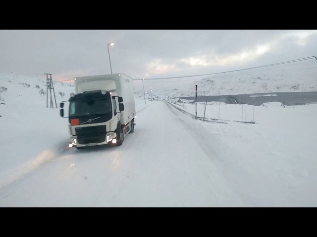 Slippery conditions on E134 over the Haukeli Mountain Pass