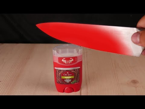 EXPERIMENT Glowing 1000 degree KNIFE VS OLD SPICE
