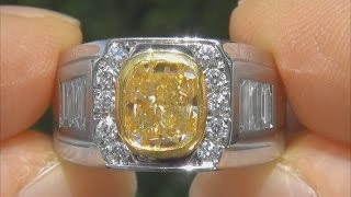 gia certified men s fancy yellow diamond ring with exceptionally rare canary yellow color