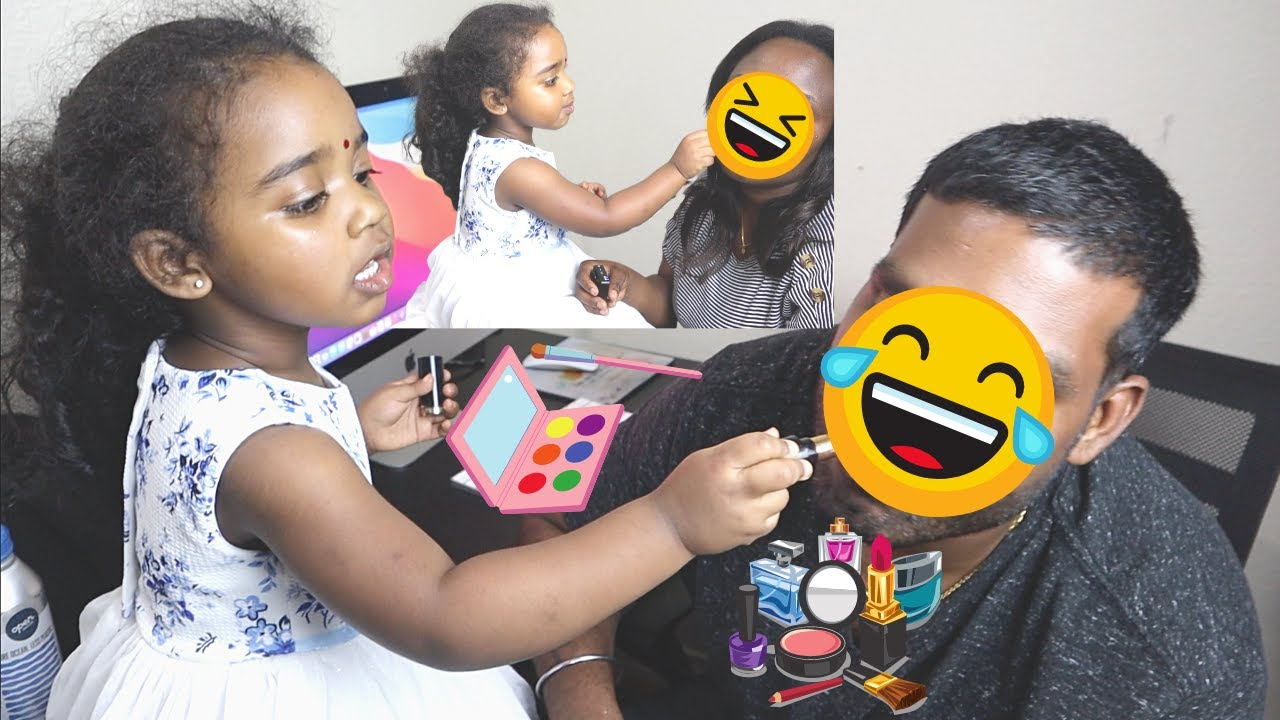 OUR 3 YEAR OLD DAUGHTER DOES OUR  MAKEUP   SO HILARIOUS !!  Ram and Pie   KAYAL