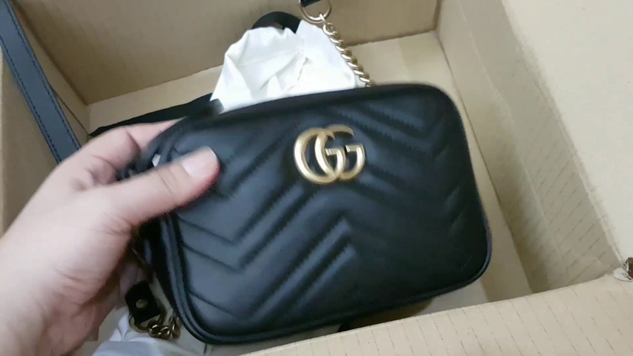 05ef577a62bbf Unboxing of Gucci Marmont Matelase mini camera bag and Vintage Chanel  single flap