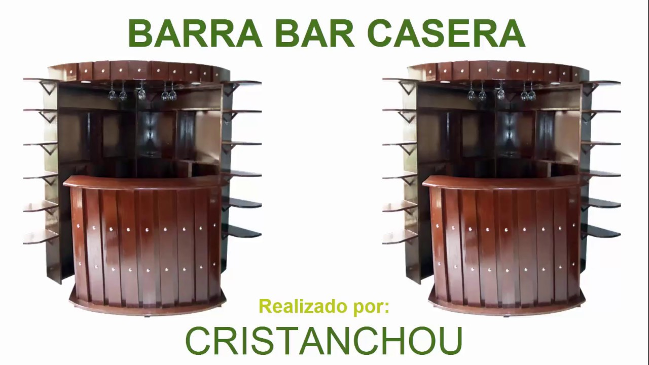 Barra bar casera hecha en madera youtube - Barra de bar para salon ...