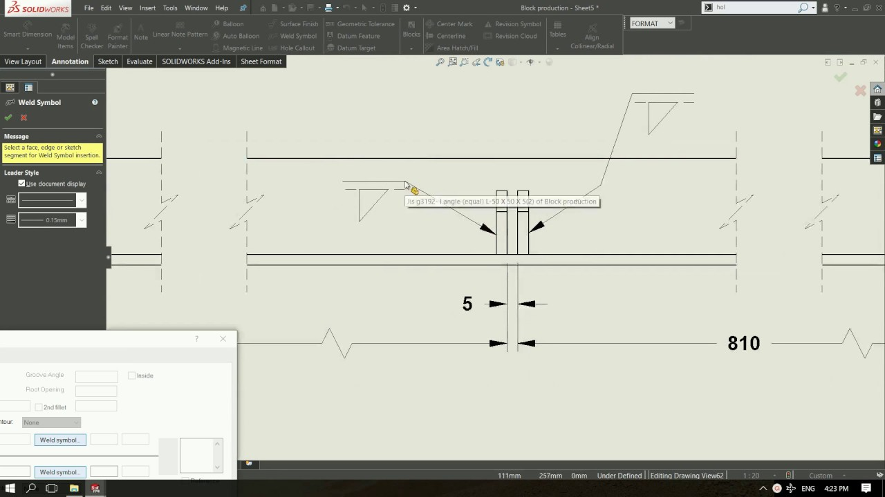 Solidworks Drawing Welding Symbol With Multi Sharp Line Jog Youtube