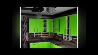 дизайн кухни ярко зеленого цвета, с незамысловатым интерьером