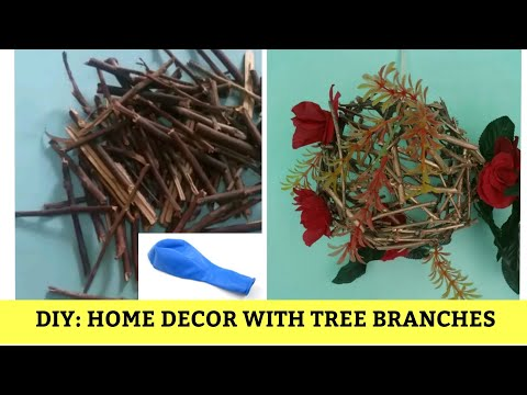 DIY HOME DECOR WITH TREE BRANCHES BY USING BALLOON || MAKE ORBS WITH TREE BRANCHES