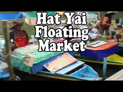 Thai Street Food & Shopping at a Floating Market in Thailand. A Walk Around a Thai Market in Hat Yai
