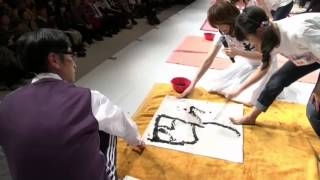 さくら学院 書の授業2 大賀咲希「正方形」 菊地最愛「四角」20150307 さ...
