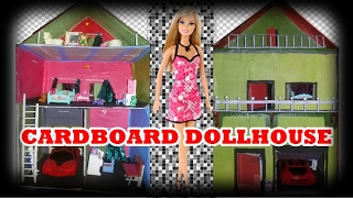 How to make Cardboard DollHouse ::: EASY recycle craft old Cardboard box