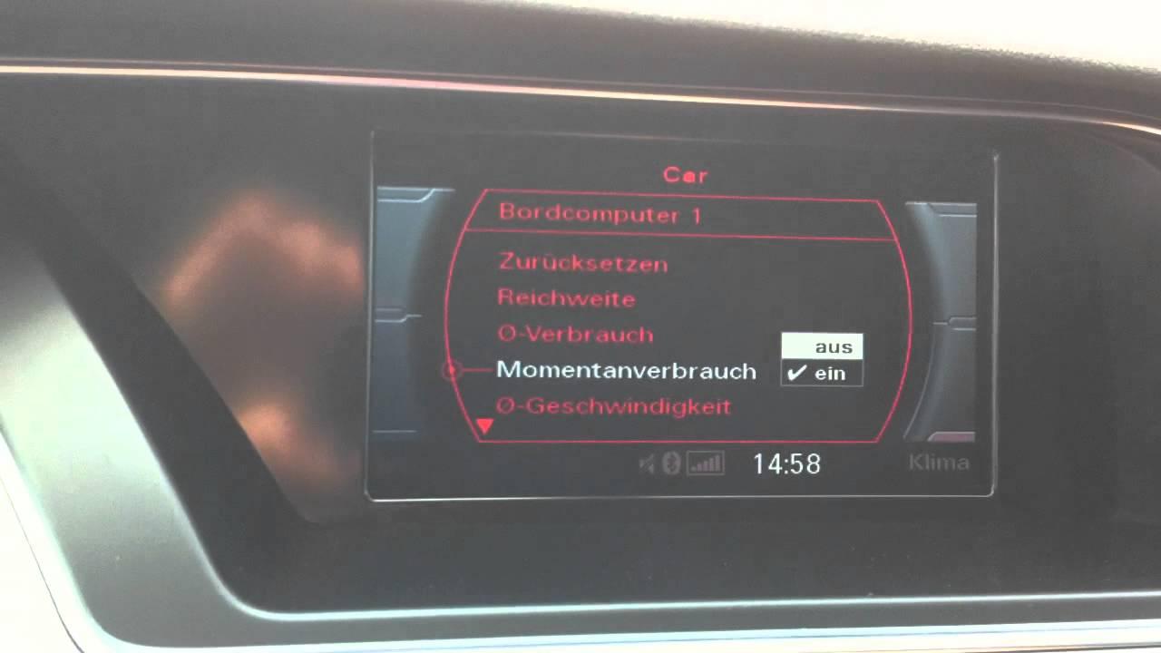 Audi Q 5 >> Audi A4 8K (A5 8T, Q5 8R) Facelift Verbrauchsanzeige FIS/Kombiinstrument aktivieren darstellen ...