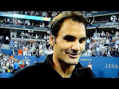 Roger Federer interview after beating Monfils at Us Open 2014