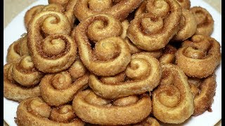Слоеное печенье с сахором и корицей за 5 минут! Печенье слоеные ушки