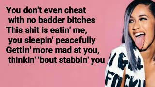 Cardi B - Thru Your Phone -  Lyrics