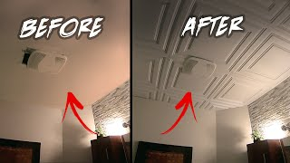 HOME RENOVATION - Start To Finish... How to Install PVC Ceiling Tiles & Repair Peeling Paint