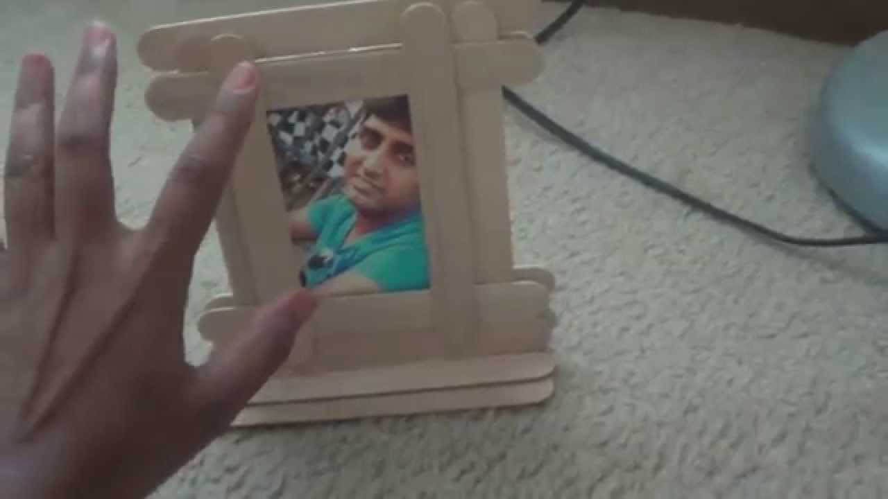 how to make a photo frame from popsicle icecream sticks youtube