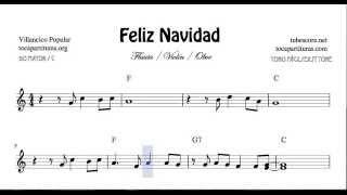 Feliz Navidad Partitura Fácil de Violín Flauta y Oboe en Do Mayor Villancico con Acordes