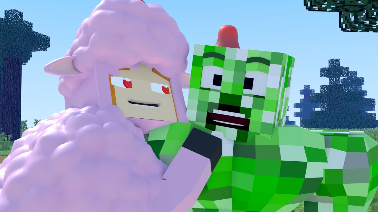 The minecraft life of Alex and Steve : Creeper and Sheep - Minecraft animation