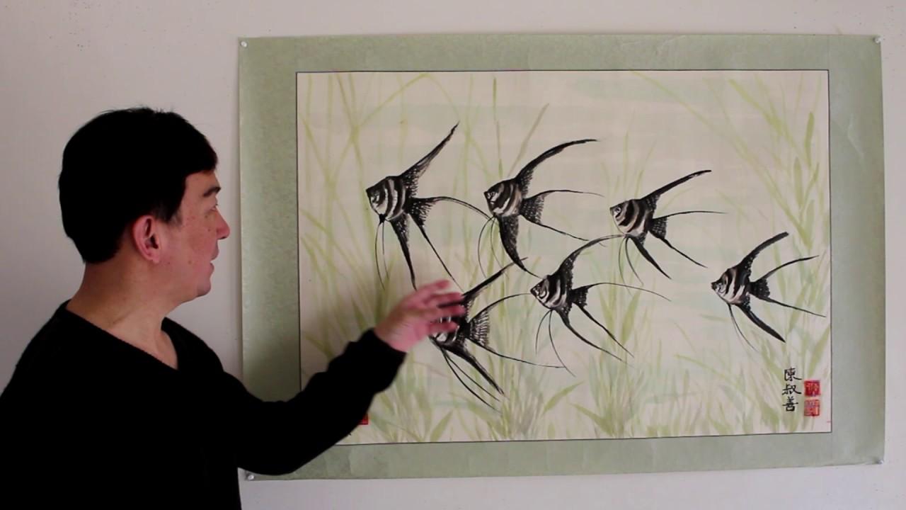 painting angel fish artist peter suk sin chan chinese painting la