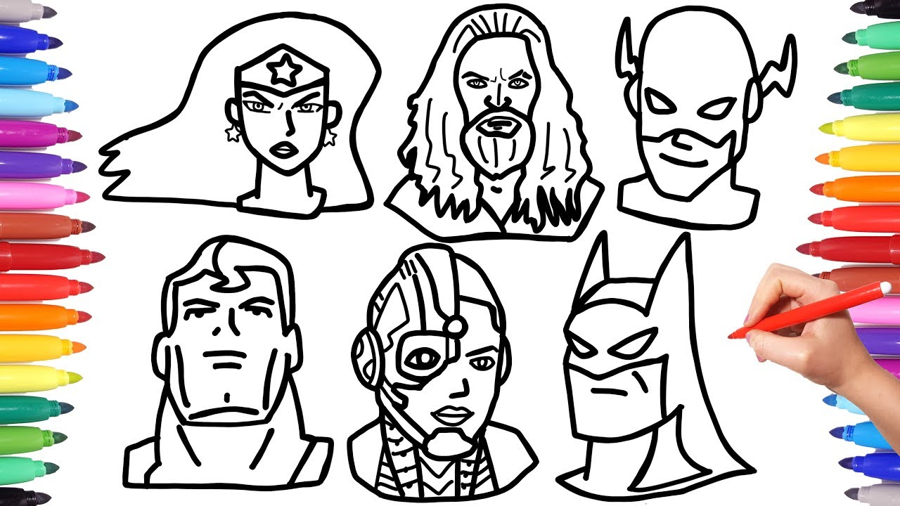 Justice League Coloring Pages How To Draw Batman Superman Aquaman Flash Faces Mask Superheroes Youtube