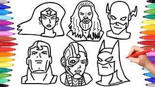 Justice League Coloring Pages, How to Draw Batman Superman Aquaman Flash Faces Mask, Superheroes