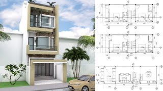 4 Bedrooms Narrow Lot House Design With Sketchup 4.5x11m