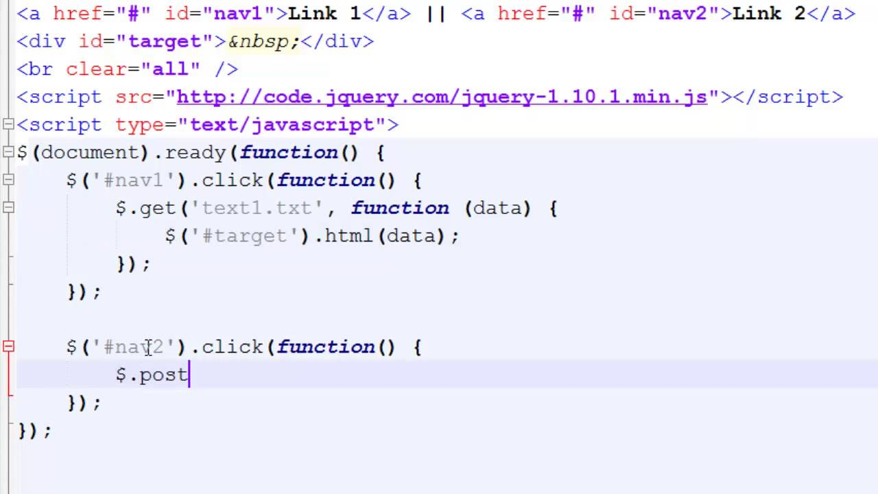 Using get and post to Load AJAX data via jQuery