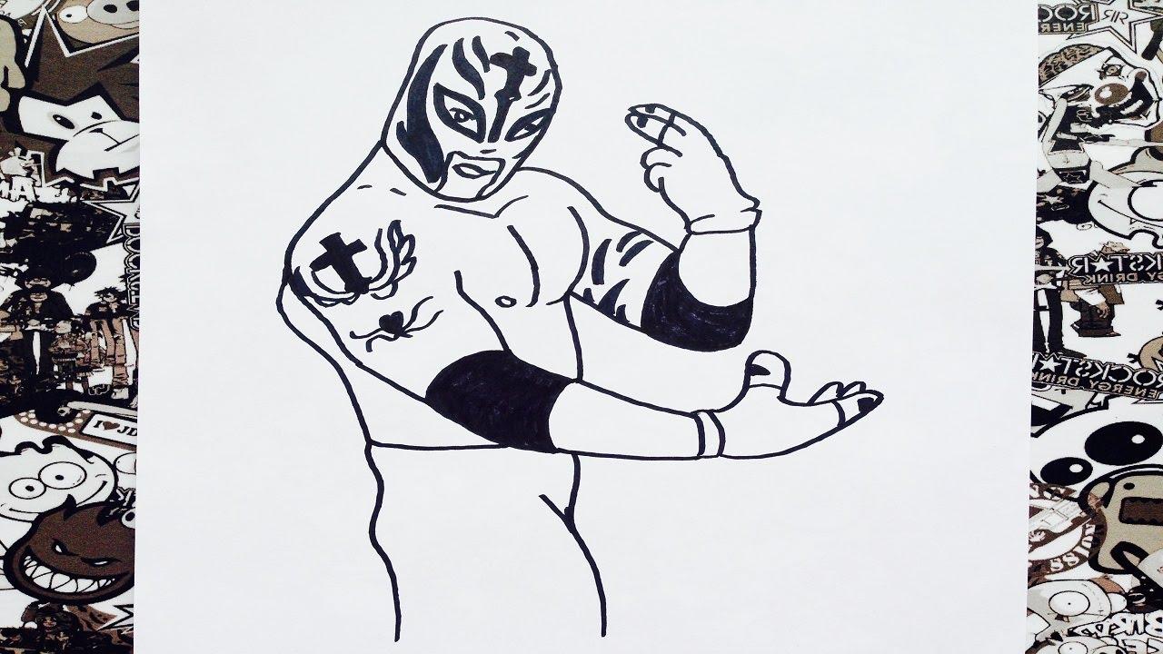 Como Dibujar A Rey Misterio Paso A Paso How To Draw Rey Misterio Como Desenhar Rey Misterio
