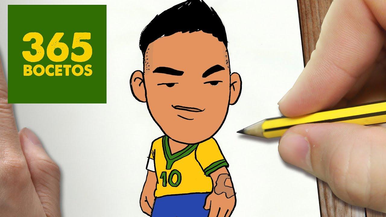 COMO DIBUJAR NEYMAR KAWAII PASO A PASO  Dibujos kawaii faciles