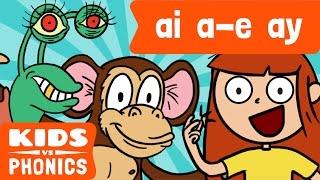 AI , a - E y AY | Sonidos Similares | Sonidos por Igual | Cómo Leer | Hechos por Niños vs Fonética