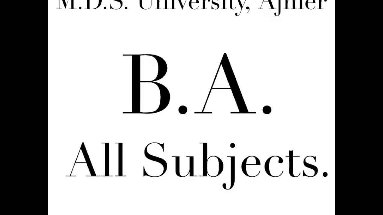 B A  (All Subject List) - M D S  University, Ajmer