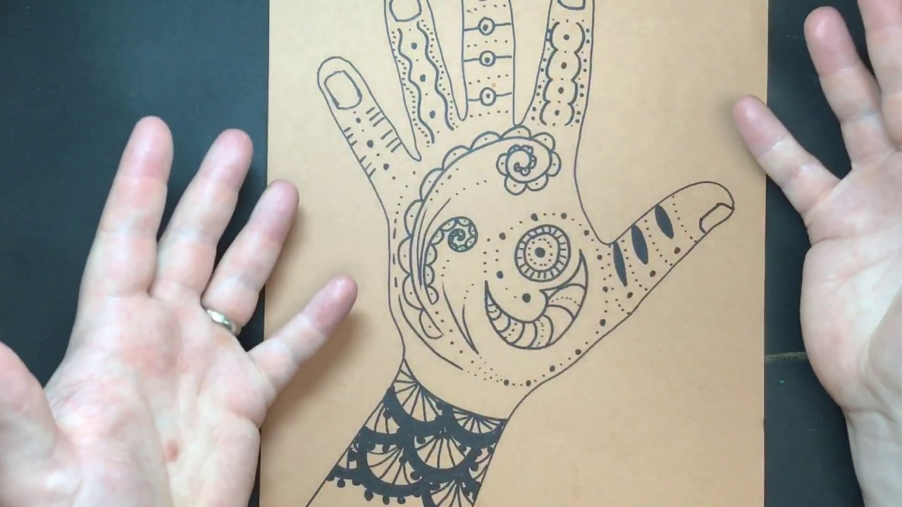 Mehndi Drawing , Henna Hand Tattoos, but on Paper , Substitute Art Teacher  Lesson