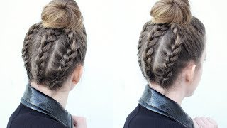 Triple Braided Upside Down Bun | Bun Hairstyles | Braidsandstyles12