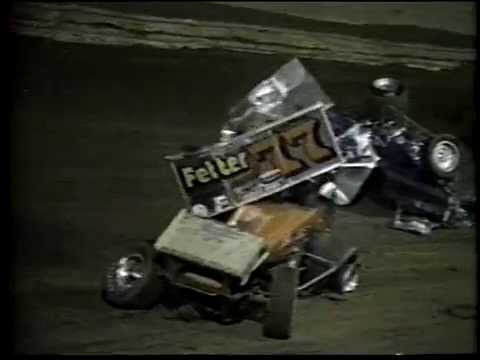 Lance DeWease and  Jerry Stone  crash at the  Port Royal Speedway '87 opener