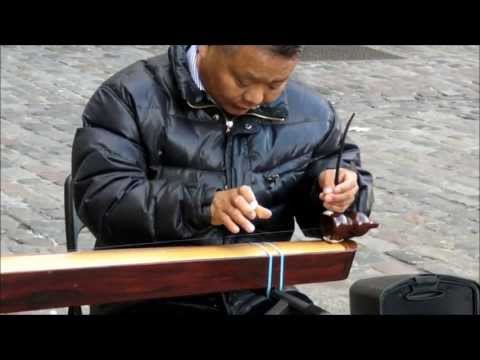 Traditional Chinese Music. Single String Instrument. London Street Music