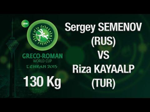 Group B, Round 3 - Greco-Roman Wrestling 130 kg - S. SEMENOV (RUS) vs R. KAYAALP (TUR) - Tehran 2015