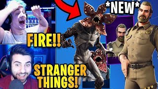 Streamers React to *NEW* Stranger Things Skins! (Demogorgon & Chief Hopper) | Fortnite Highlights