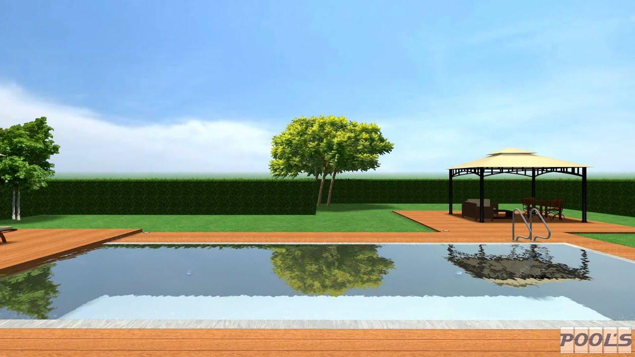 Piscina a bordo sfioratore con pavimento in legno giorno - Pavimenti bordo piscina in legno ...