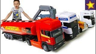 Красный Грузовик Бензовоз Скания и другие машинки Cars Toys  for kids