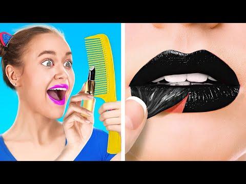 KIAT MAKEUP AGAR TERLIHAT GLAMOR! || Tips Kecantikan Lucu Ala 123 GO! GOLD