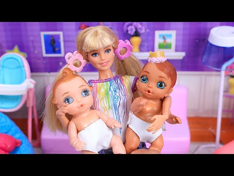 Barbie Doll babysits the twins with nursery rhymes! Play Toys family routine !
