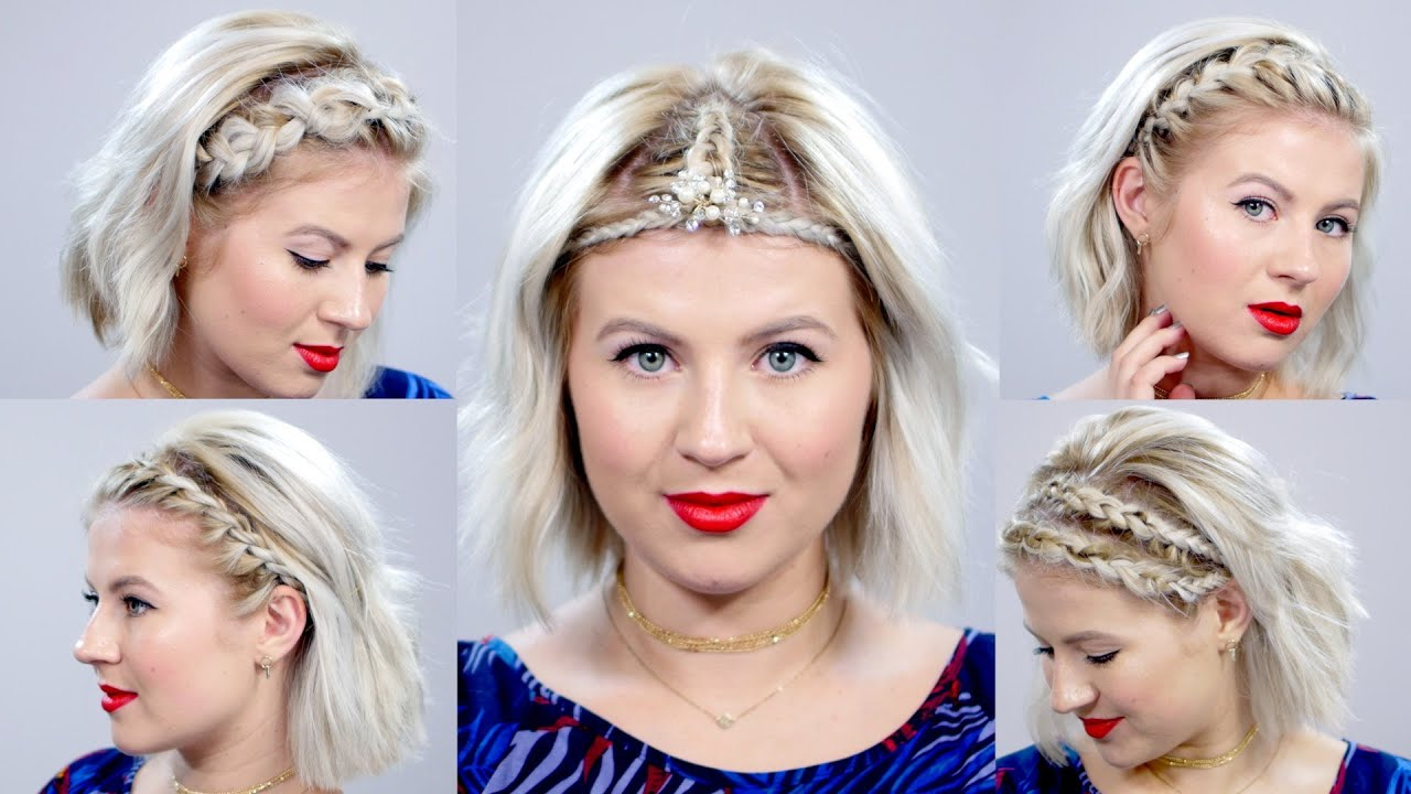 5 Braided Headbands For Short Hair Tutorial | Milabu - YouTube
