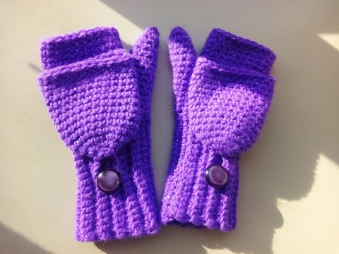 crochet convertible fingerless mittens child size