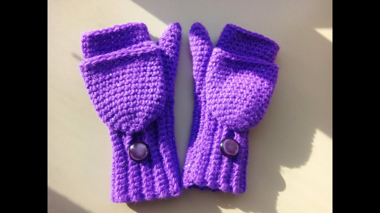 crochet convertible fingerless mittens child size - YouTube